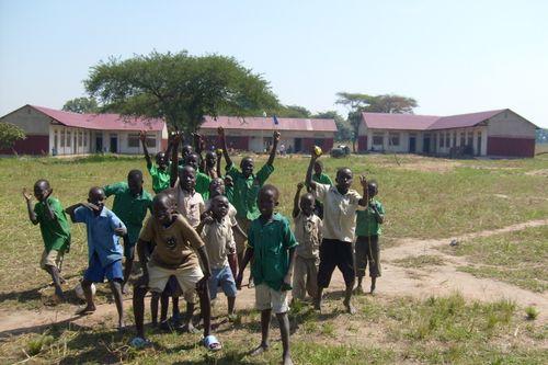 28th Nov 2009, Gaderu School, the Pupils infron of their New School