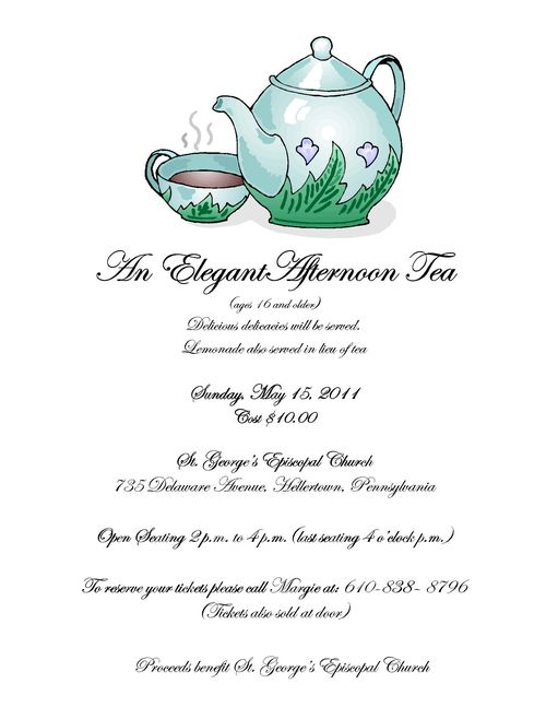 Elegant Tea Party, May 15 at St. George's Hellertown